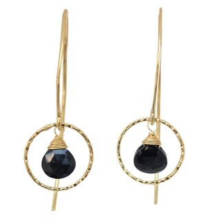 Handmade Gold Overlay 'Rose Dreamer' Spinel Dangle Earrings (Thailand)