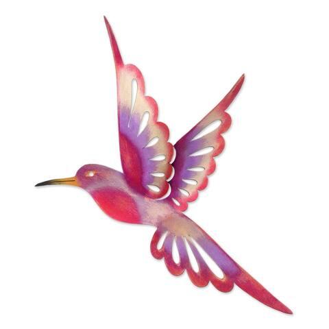 Handmade Violet Hummingbird Metal Wall Art (Mexico)