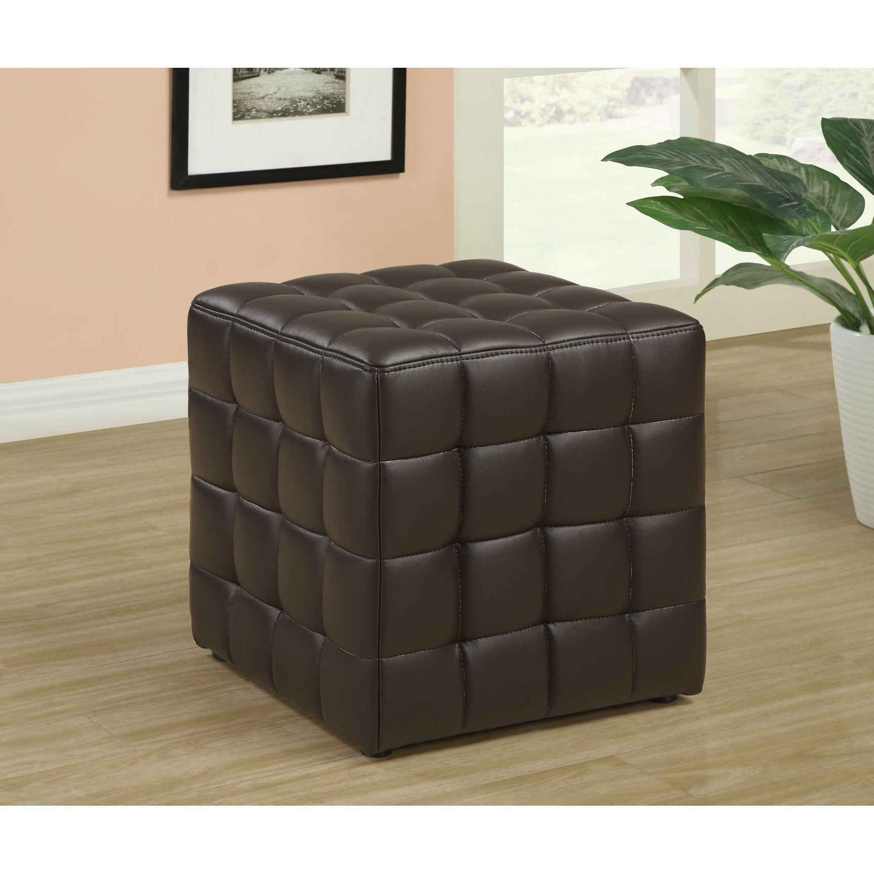 dark brown leather look ottoman free shipping today 14354955. Black Bedroom Furniture Sets. Home Design Ideas
