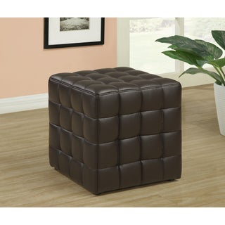 Dark Brown Leather-Look Ottoman