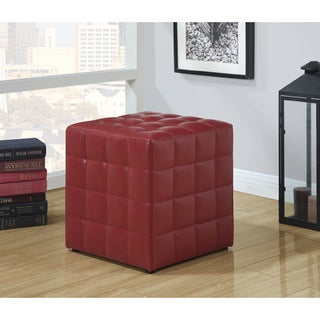 Red Leather-Look Ottoman