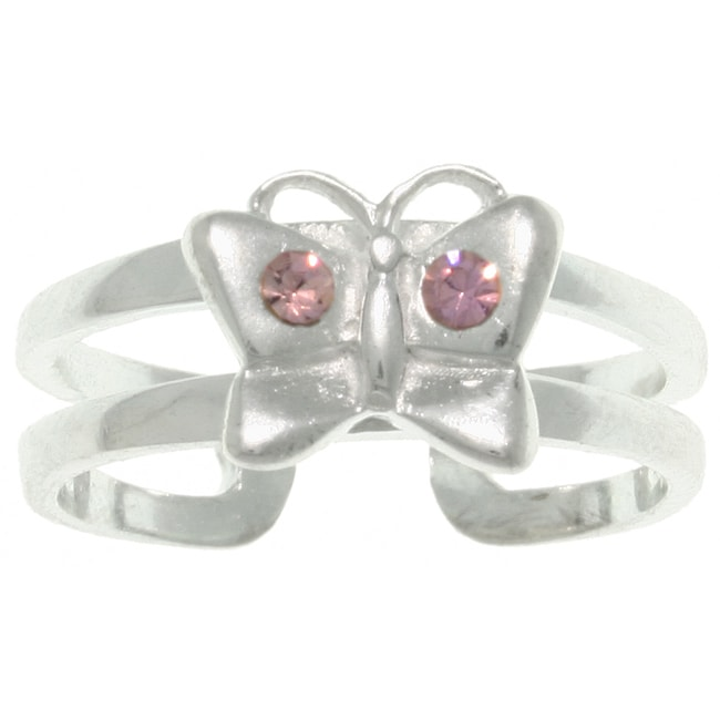 Carolina Glamour Collection Sterling Silver Purple Crystal Butterfly Toe Ring