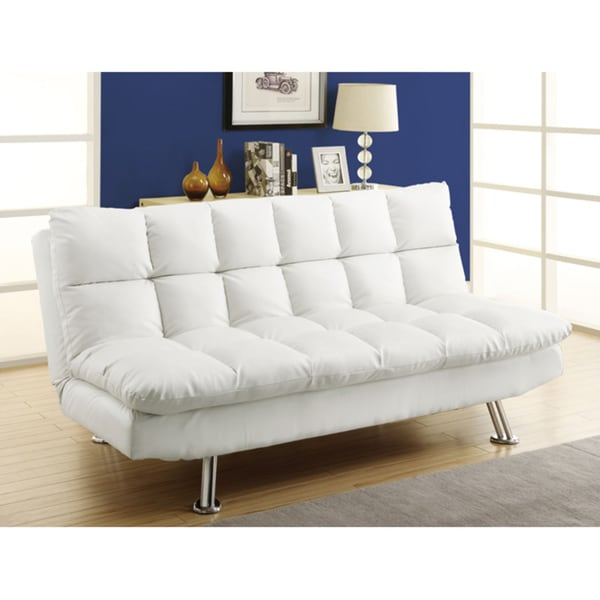White Leather Look Click Clack Futon Free Shipping Today