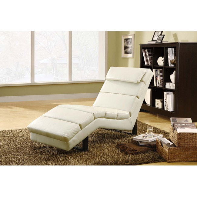 Taupe Leather-Look Chaise Lounger