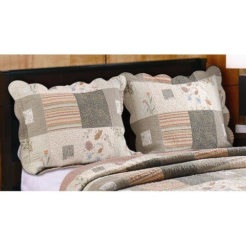 Greenland Home Fashions Sedona Quilted Pillow Shams, Set of Two Shams - Multi-color
