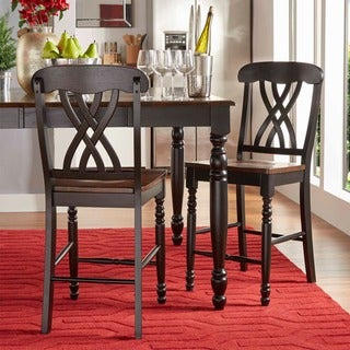 TRIBECCA HOME Mackenzie 24-Inch Black Counter Height Stool (Set of 2)