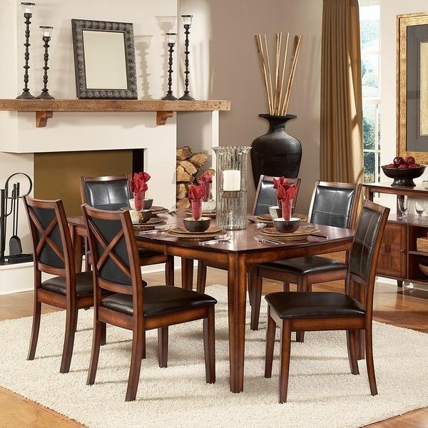 TRIBECCA HOME Frisco Bay Burnished Oak Transitional 7-piece Dining Set