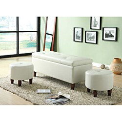Ibrahim Ivory Storage Bench and Ottomans