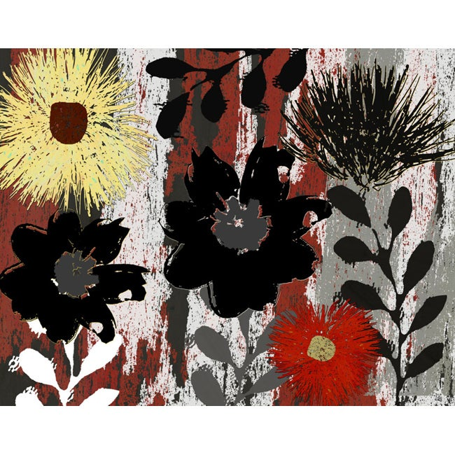 Ankan 'Graphic Flowers 2' Gallery-wrapped Canvas Art