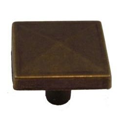 GlideRite Square Pyramid Antique Brass Cabinet Knobs (Pack of 10) - Thumbnail 2