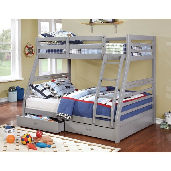 Furniture of america junior roomates twin over full bunk for 5 yr old beds