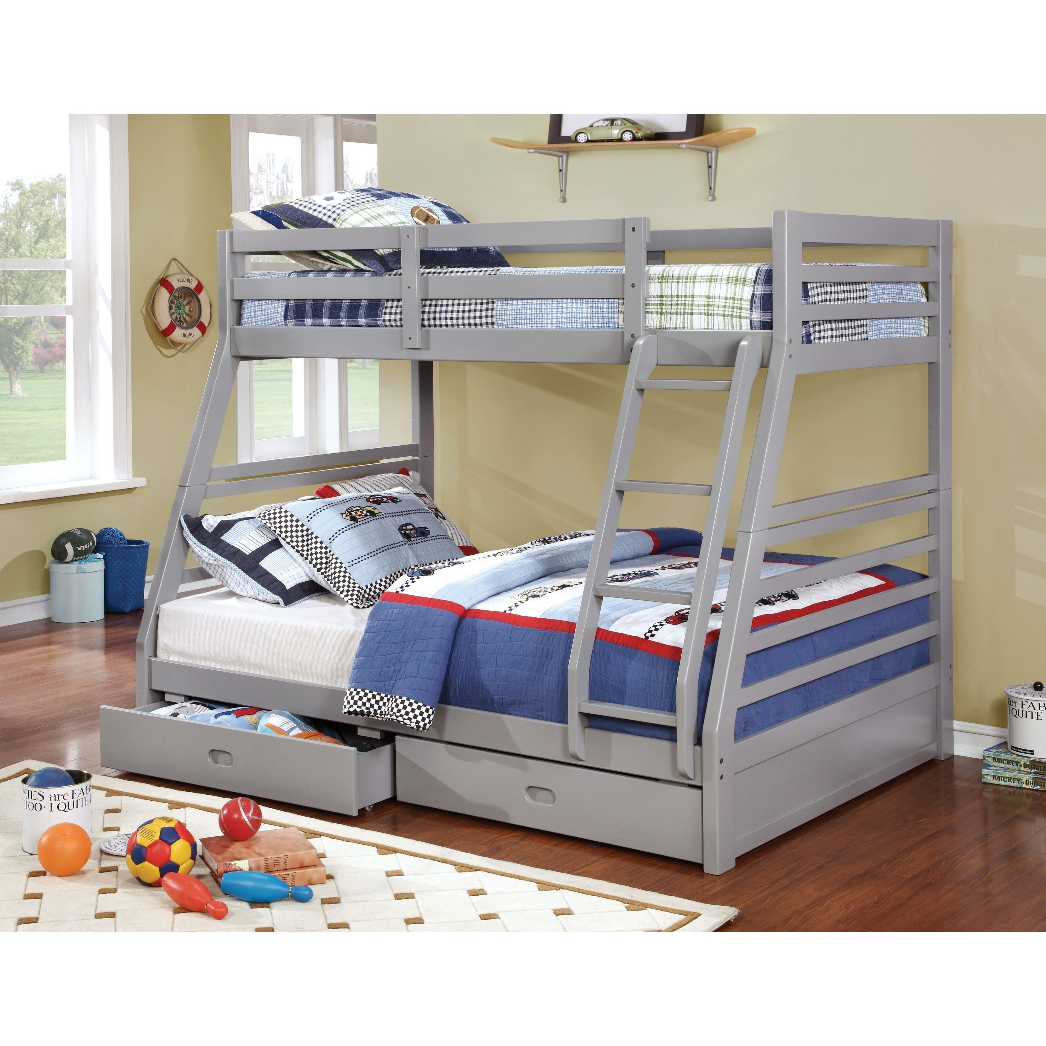 Junior Roomates Contemporary Twin over Full Bunk Bed Set by FOA