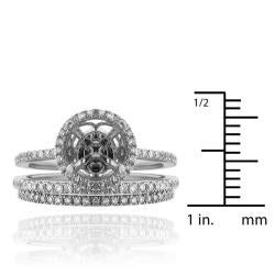 14k Gold 3/8ct TDW Semi-mount Diamond Engagement Ring (G-H, SI1-SI2) - Thumbnail 2
