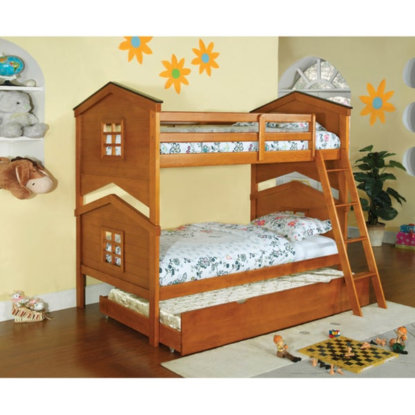 Furniture of America Tree House 3-Piece Twin Over Twin Bunk with Trundle & Chest