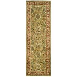 Safavieh Handmade Persian Legend Light Green/ Rust Wool Rug (2'6 x 10')
