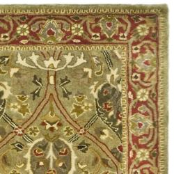 Safavieh Handmade Persian Legend Light Green/ Rust Wool Rug (2'6 x 8') - Thumbnail 1