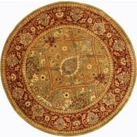 "Safavieh Handmade Persian Legend Light Green/ Rust Wool Rug - 3'6"" x 3'6"" round"