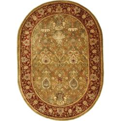 Safavieh Handmade Persian Legend Light Green/ Rust Wool Rug (4'6 x 6'6 Oval)