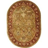 Safavieh Handmade Persian Legend Light Green/ Rust Wool Rug (4'6 x 6'6 Oval) - 4'6' x 6'6 oval