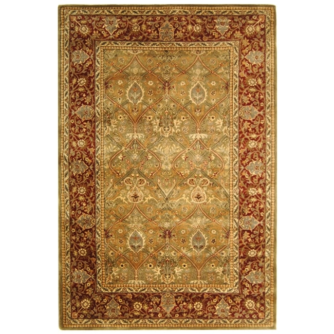 Safavieh Handmade Persian Legend Light Green/ Rust Wool Rug (6' x 9')