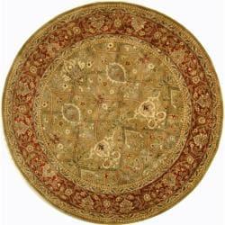 Safavieh Handmade Persian Legend Light Green/ Rust Wool Rug (8' Round)
