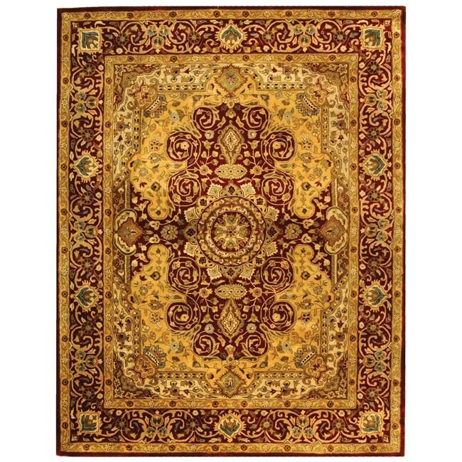 Safavieh Pl537a Persian Legend Wool Hand Tufted Rust Navy: Safavieh Handmade Persian Legend Burgundy Wool Rug