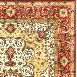 Safavieh Traditional Handmade Persian Legend Ivory/Rust Wool Rug (6' x 9') - Thumbnail 1