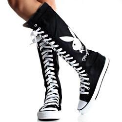 Playboy by Beston Women's PB1020 Canvas Sneaker Boots - Thumbnail 1