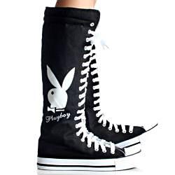 Playboy by Beston Women's PB1020 Canvas Sneaker Boots - Thumbnail 2