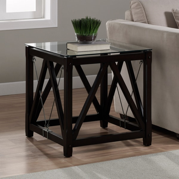 Shop Cable Black Wood Glass End Table Free Shipping