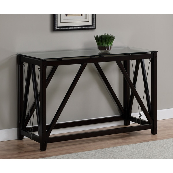 Cable Black Wood/ Glass Sofa Table