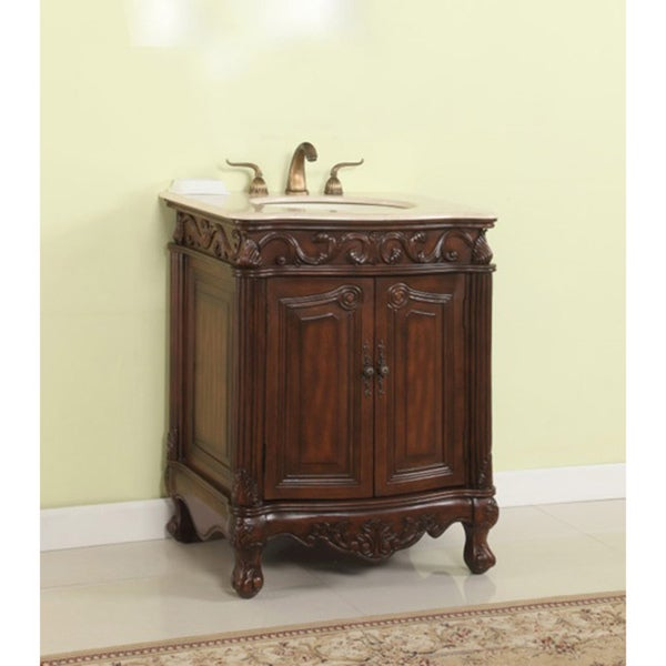 Somette Brown Wood Cream Marble Bathroom Sink Vanity
