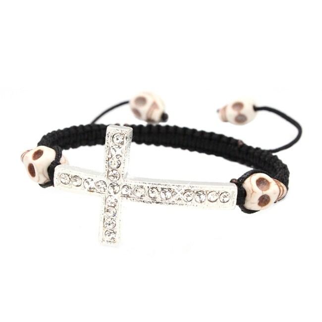 White Skull and Silver Cross Nylon Macrame Bangle Bracelet