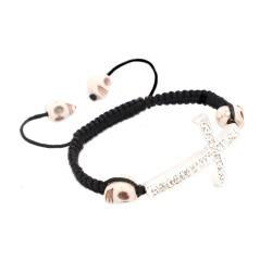 White Skull and Silver Cross Nylon Macrame Bangle Bracelet - Thumbnail 1