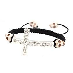 White Skull and Silver Cross Nylon Macrame Bangle Bracelet - Thumbnail 0