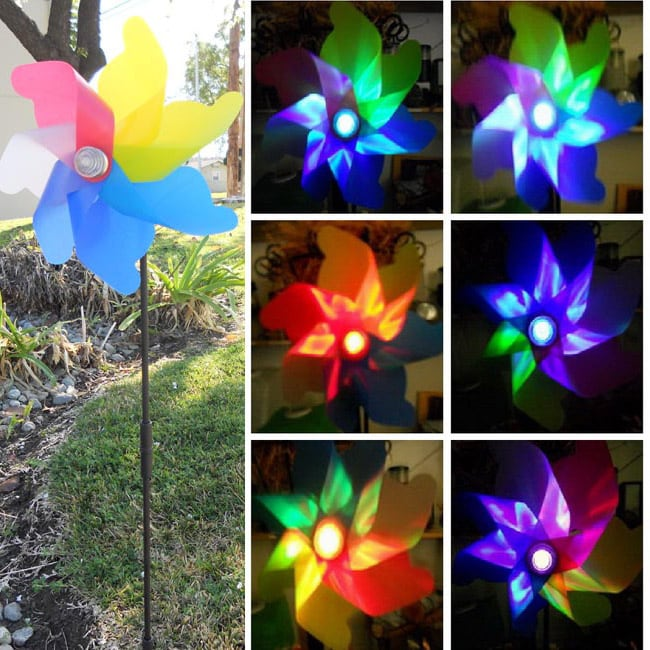Solar Garden Windmill Spinner Color Changing Light Free Shipping On Orders Over 45