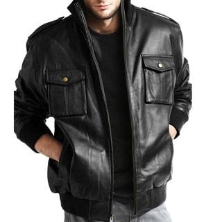 Men's Pig Napa Leather Military Bomber Jacket (Option: 5x)
