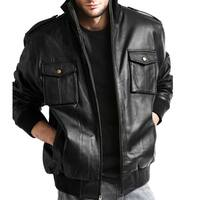Men's Pig Napa Leather Military Bomber Jacket