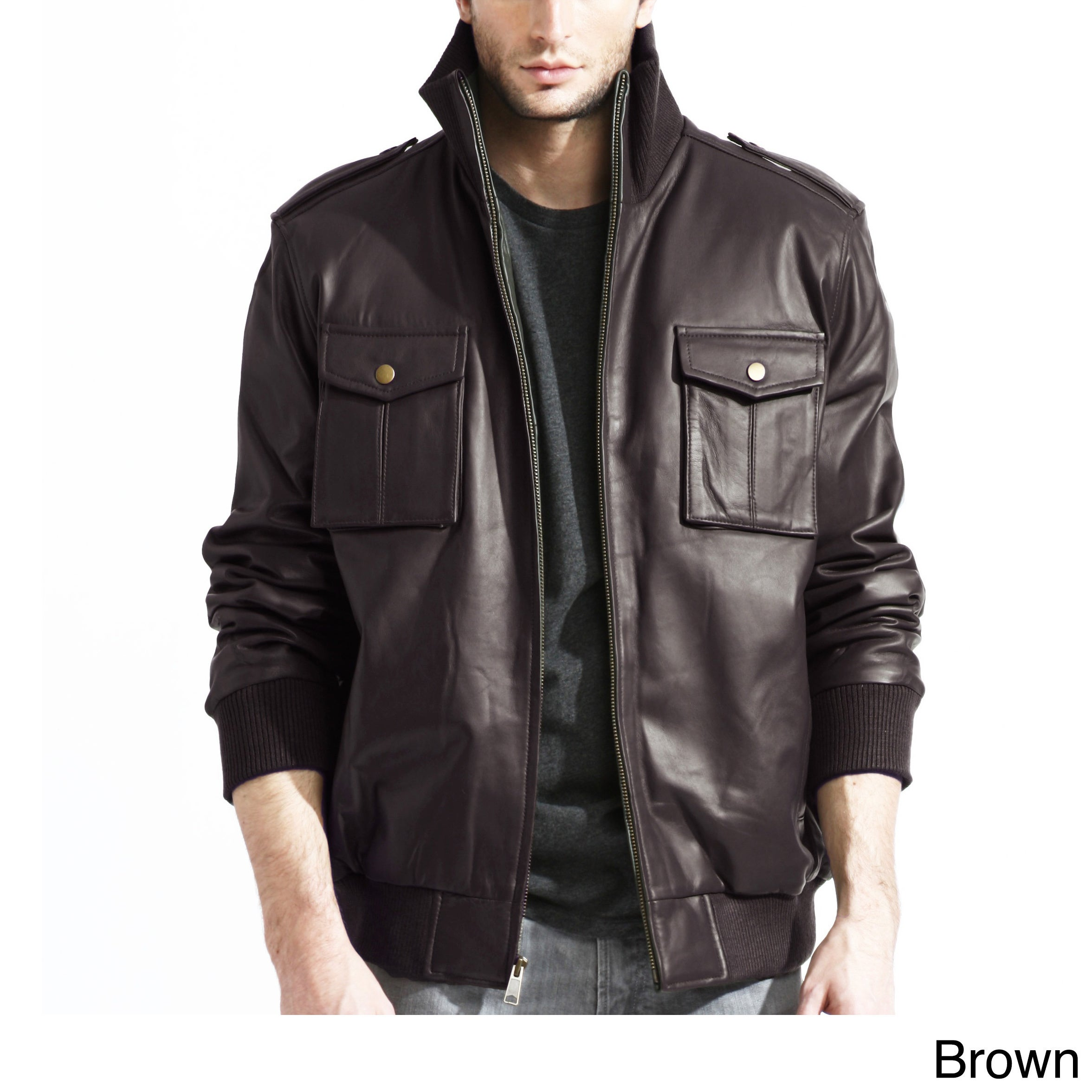 TANNERS AVENUE Men's Pig Napa Leather Military Bomber Jac...
