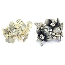 Handmade White/ Grey Zebra Garden Mother of Pearl/ Pearl Cuff (Thailand)