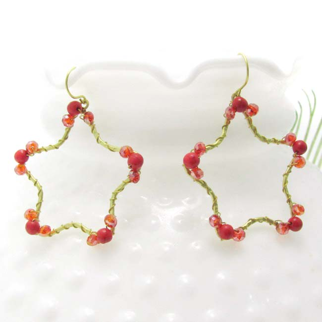 Handmade Gold Star Daze Red Coral Stone Dangle Brass Earrings (Thailand)