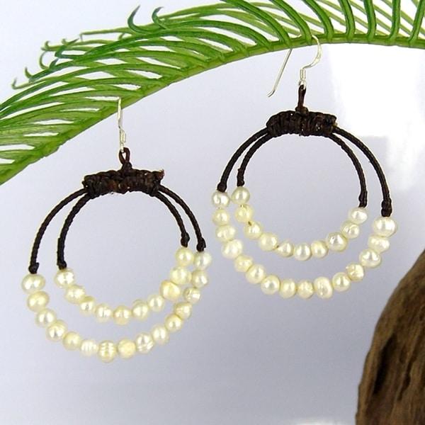 Handmade Stunning White Freshwater Pearl Double Hoop Earrings (Thailand)