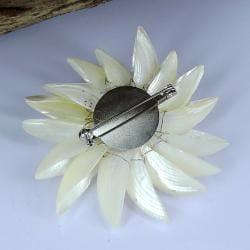 Dancing White Petals Natural Shell Pin/ Brooch (Thailand)