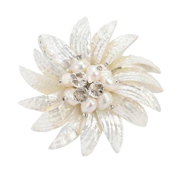 Handmade Dancing White Petals Natural Shell Pin/ Brooch (Thailand)