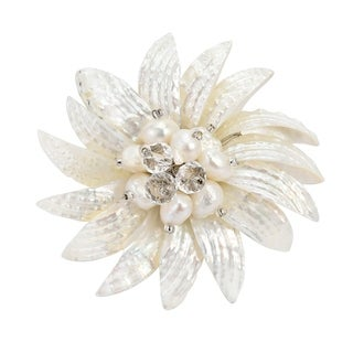 Handmade Dancing White Petals Natural Shell Pin/ Brooch (Thailand)