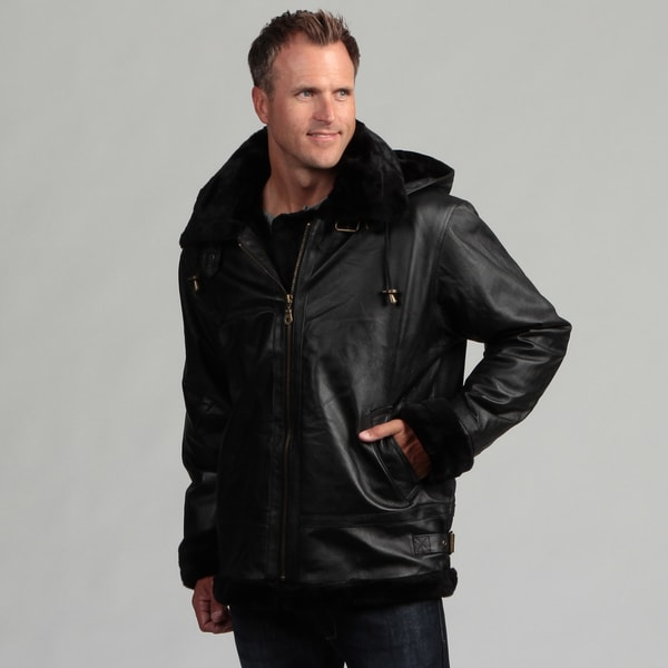 Tanners Avenue Men&39s Black Leather Shearling Bomber Jacket - Free