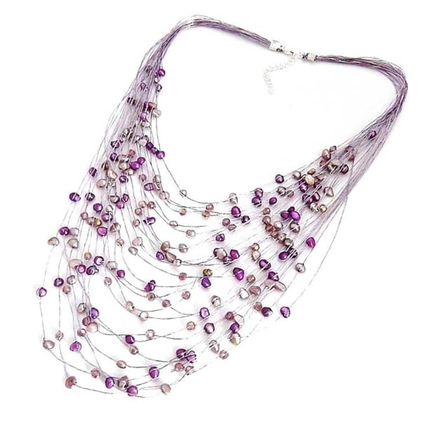 Handmade Layered Sophistication Freshwater Purple Pearls Necklace (Thailand)