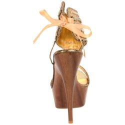 Celeste Women's 'Jucci-02' Gold Wood Platforms