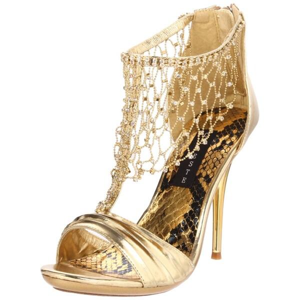Celeste Women's 'Hana-14' Gold Back-zip Sandals