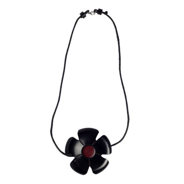 Handmade African Blackwood Flower and Pink Ivory Wood Necklace (Mozambique)